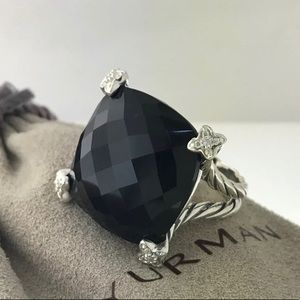 David Yurman Silver 20mm Ring Black w Diamonds 5.5